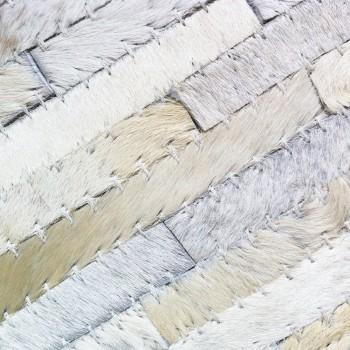 Vloerkleed van gerecycled natuurlijk leer/huid wit 160 x 230cm