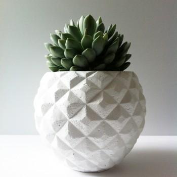 Pot grafisch wit 15,5cm. hoog