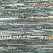 Vloerkleed gerecycled leer jade groen/ goud 160cm. x 230cm.