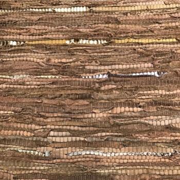 Vloerkleed gerecycled leer bruin/ goud 80 x 140cm.