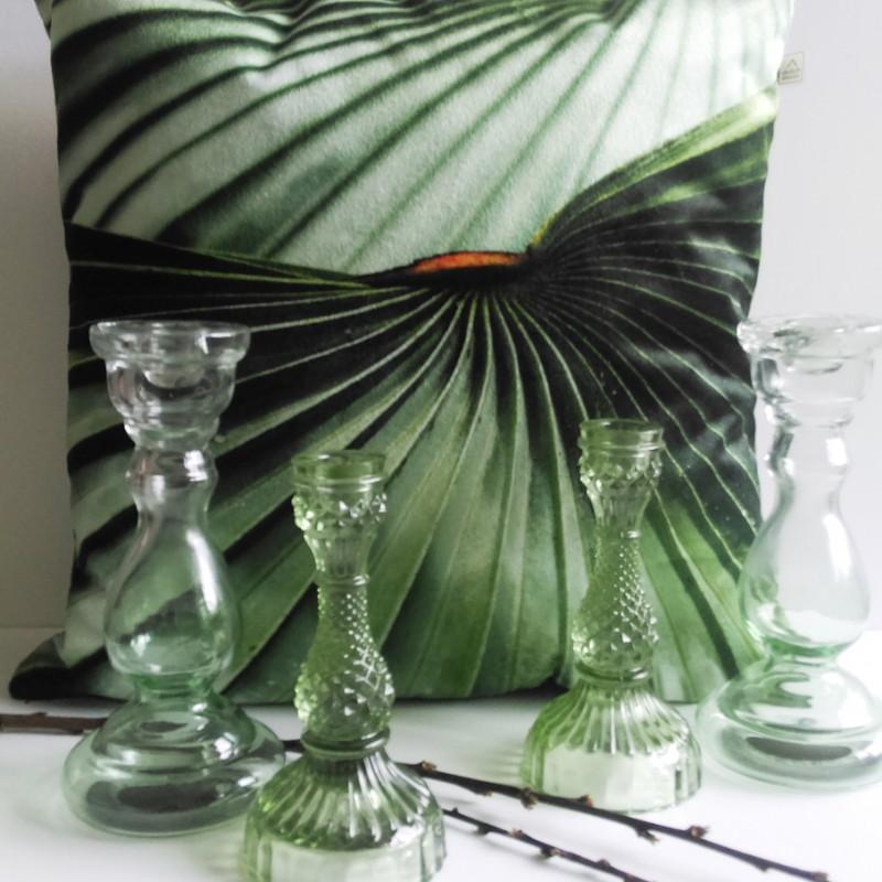 sierkussen botanisch bladmotief groen 45 x 45cm