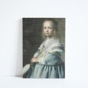 Paneel hout Meisje in de blauwe jurk 21,5cm. hoog