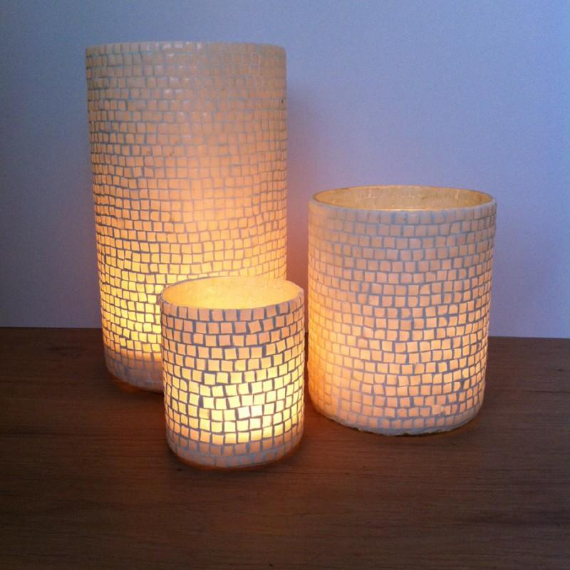 Windlicht cilinder glas mozaik x 17 5cm for Windlicht modern