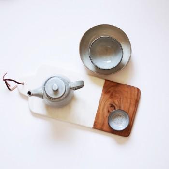 Snijplank deco hout met marmer 40,5cm.