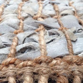 Vloerkleed leer met jute licht grijs 160cm x 230cm.