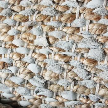 Vloerkleed leer met jute wit 160 x 230cm.