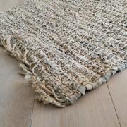 Vloerkleed leer met jute beige 80 x 140cm.