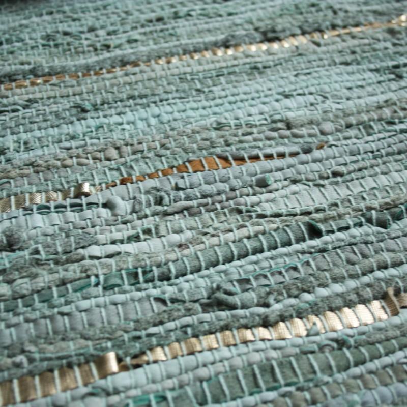 3f642a2f79b Vloerkleed gerecycled leer jade groen/ goud 160cm. x 230cm.
