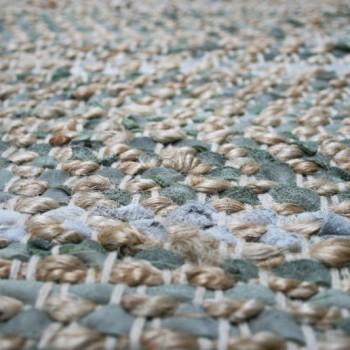 Vloerkleed gerecycled leer/ jute olijfgroen 200cm. x 300cm.