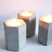 Waxinelicht beton zeshoek 8cm. hoog