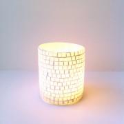 Windlicht cilinder glas mozaik XS d.6 x 7cm
