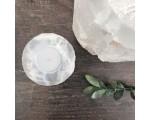 Waxinelichthouder seleniet kristal Earthware d.11cm.