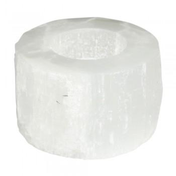 Waxinelichthouder seleniet kristal Earthware d.9cm.