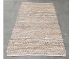 Vloerkleed leer met jute beige/zilver 80cm x 140cm.